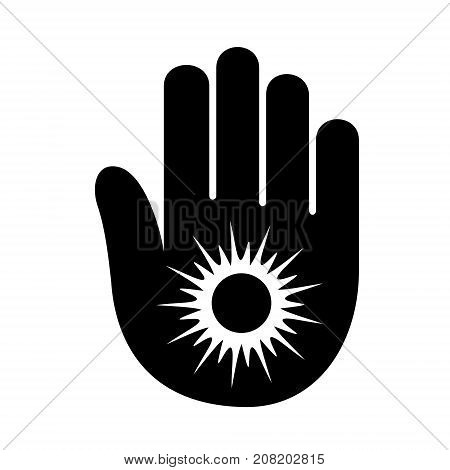 Hand sun shining palm open logo icon. Simple illustration of hand open palm with sun shining number open vector illustration for print or web design.
