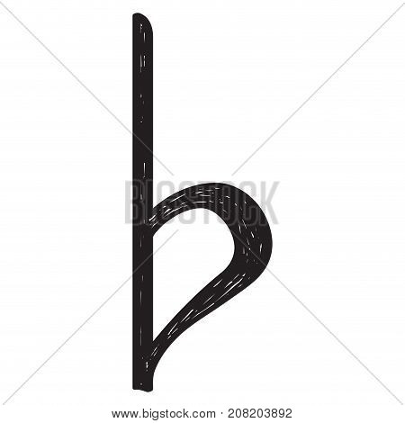 Isolated sketch of a musical note, Flat key signature, Vector illustration