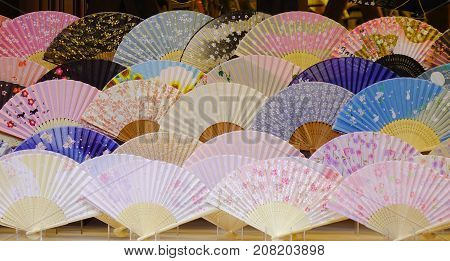 Japanese Folding Fans At A Shop In Kyoto, Japan