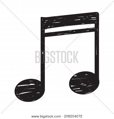 Isolated sketch of a musical note, Sixteenth note, Vector illustration