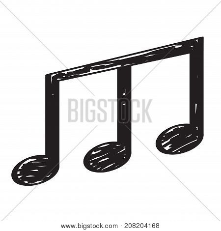 Isolated sketch of a musical note, Thirty-second note, Vector illustration