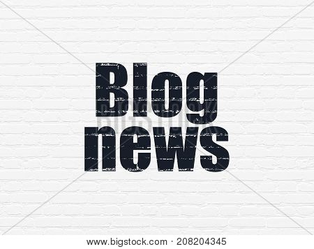 News concept: Painted black text Blog News on White Brick wall background