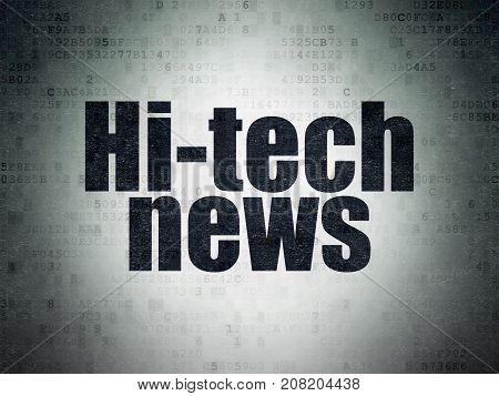 News concept: Painted black word Hi-tech News on Digital Data Paper background