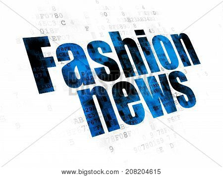 News concept: Pixelated blue text Fashion News on Digital background