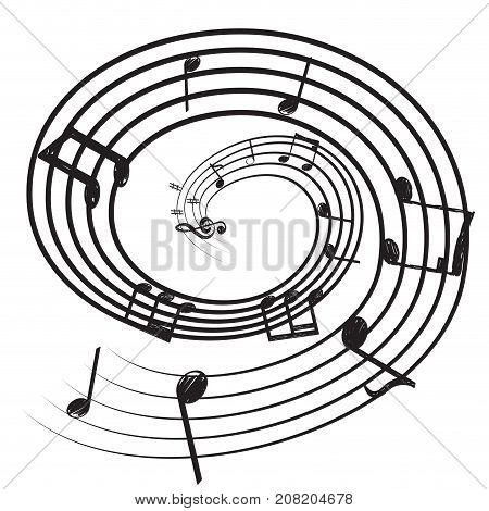 Isolated pentagram with musical notes, Vector illustration