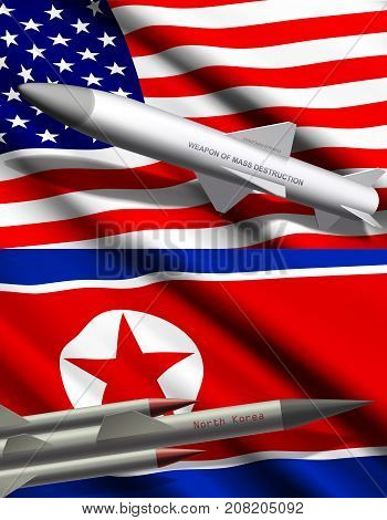Missile with nuclear weapon or mass destruction on background of United States of America and North Korea flags realistic vector illustration. International political conflict, threat of war concept