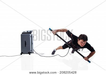 Fitness athletic man in electrical muscular stimulation suit doing one hand plank with body bar studio isolated on white background