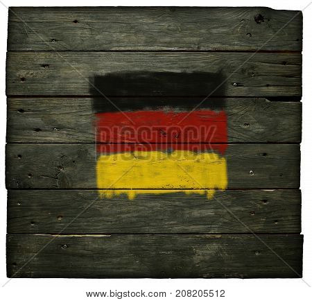 painted german flag on old wooden planks