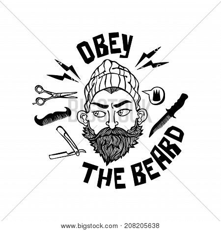 Obey the beard. Lettering. Young man with beard. Straight razor, scissors, comb. Isolated vector objects on white background.