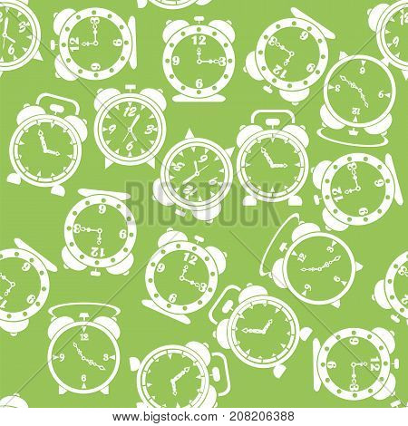 Silhouettes of Clock Icon Seamless Pattern Isolated on Green Background