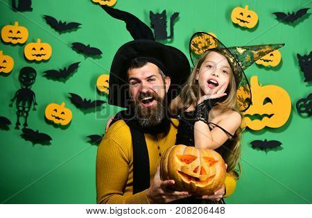 Halloween Party And Celebration Concept. Girl And Bearded Man