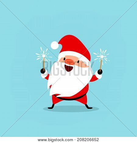 Santa Claus celebrates the New Year with sparkler in his hands. Cute emotional Christmas character. Element from the collection. Vector illustration isolated on light blue background