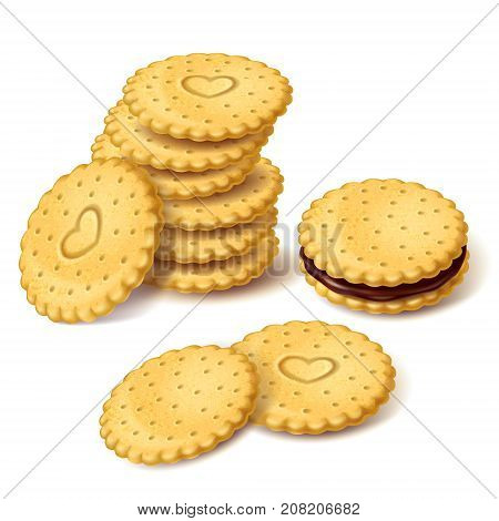 Stack of round biscuit cookies or cracker with heart ornament and cookies sandwich with chocolate cream vector isolated on white background. Ordinary sweets, classic confectionery snack illustration