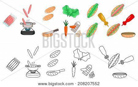 Recipe hot dog vector diy instruction manual illustration sketch