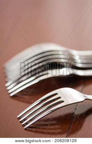 Selective Focus On The Metal Fork With Blurred Background