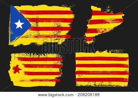 Catalonia Flags and map vector grunge style isolated on a dark background