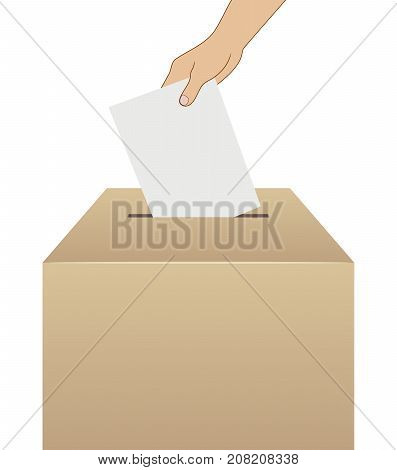 elections voting vector hand putting vote into ballot box isolated illustration with blank places for your text
