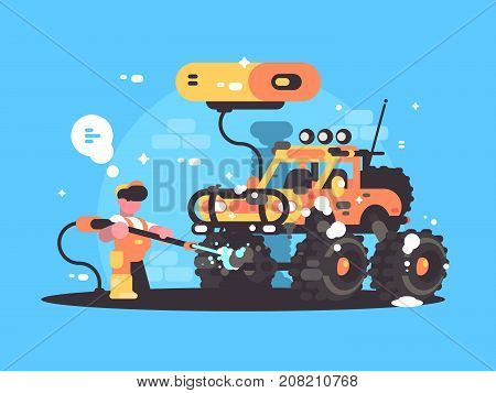 Car wash service. Washer washes SUV with water vacuum cleaner. Vector illustration