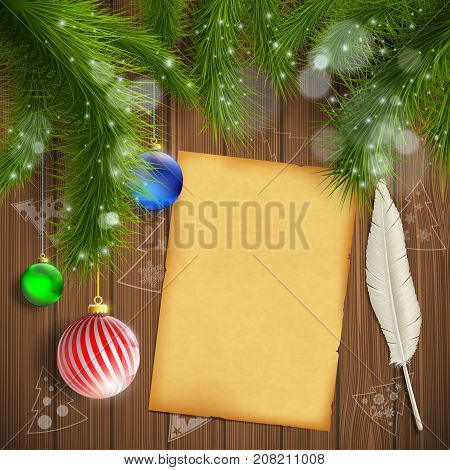 Christmas tree with balls. Vintage sheet with a pen to write messages and wishes. New Year background. Stock vector illustration.