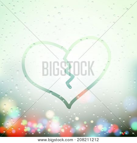 Broken human heart with a crack is drawn on the misted window. Stock vector illustration.