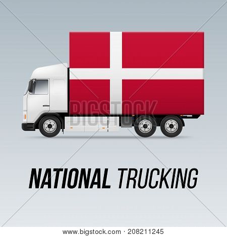 Symbol of National Delivery Truck with Flag of Denmark. National Trucking Icon and Danish flag