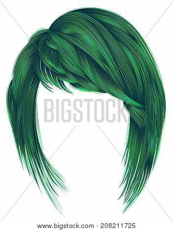 trendy woman hairstyle green colors with bangs. medium length .fashion beauty style .