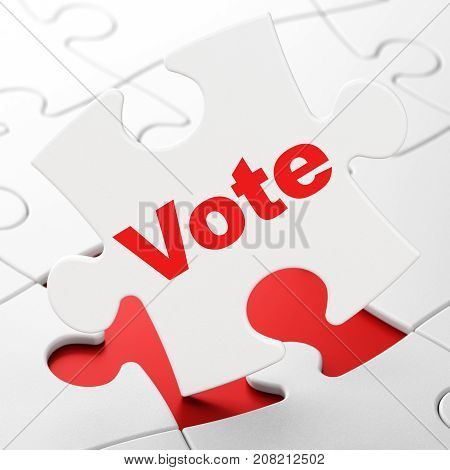 Politics concept: Vote on White puzzle pieces background, 3D rendering