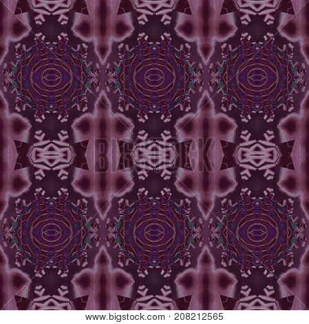 Abstract geometric seamless background. Regular ornaments pink, purple and violet on dark brown with blue and green elements, ornate and dreamy.