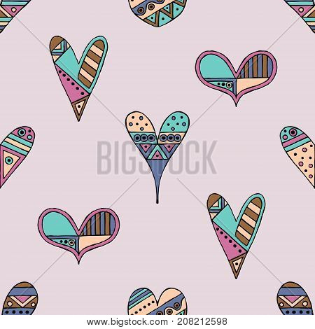 Vector Hand Drawn Seamless Pattern, Decorative Stylized Childish Hearts. Doodle Style, Tribal Graphi