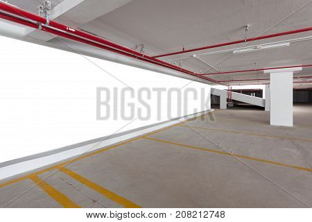 blank billboard with Empty parking garage underground interior in apartment or business building office