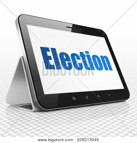 Politics concept: Tablet Computer with blue text Election on display, 3D rendering