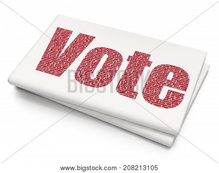 Political concept: Pixelated red text Vote on Blank Newspaper background, 3D rendering