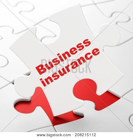 Insurance concept: Business Insurance on White puzzle pieces background, 3D rendering