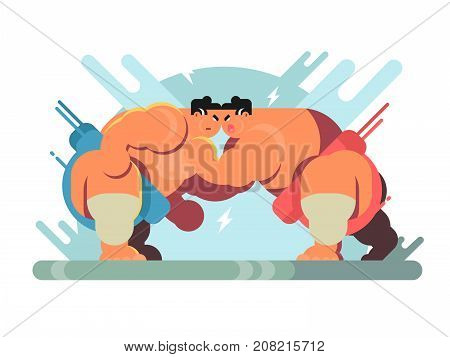 Fight of sumoists athletes. Sport japa sumo, characters wrestler japanese fat and strength, vector illustration