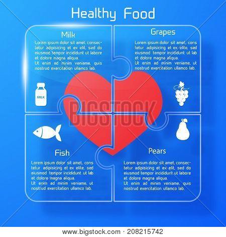 Healthy food concept puzzle design with products icons useful for human heart on blue background vector illustration