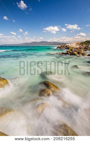 Binalong Bay and the Bay of Fires on the east coast of Tasmania, Australia.