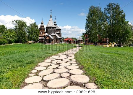 Wooden Footpath To Old Russian Wooden Churches In Suzdal.