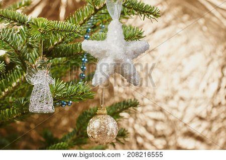 beautifu Closeup on Christmas tree decoration, copy space