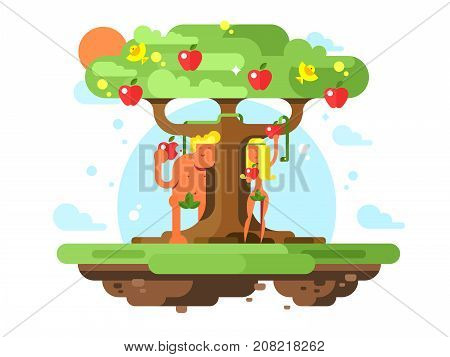 Adam and Eve near apple tree. Garden fruit and nude couple male and female. Vector illustration