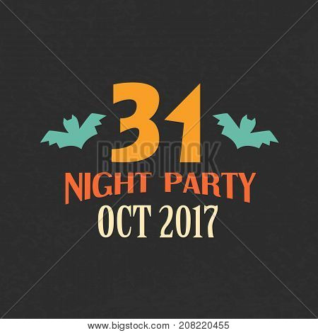 Halloween Night Party Emblem Template, Logo Badge. Design Elements for Posters, Invitations, Stickers, Gift Cards, T-shirt prints. Vector illustration