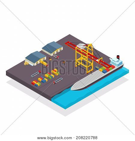 Vector isometric cargo container ship and crane concept with loading containers. Cargo terminal with container ship loading. Warehouse near with it.