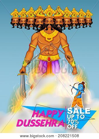 illustration of Lord Rama and ten headed Ravana for Happy Dussehra Navratri sale promotion festival of India