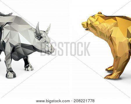 3d low poly multicolor art bull bear head illustration business market on a golden background