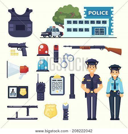 Police Professional Equipment Set. Handcuffs, Bulletproof Vest, Electroshocker, Truncheon, Badge, We