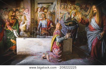 biblical scene representation (presepe) of the Raising of Lazarus (Sacro Monte di Varallo Piedmont Italy May 24 2017)