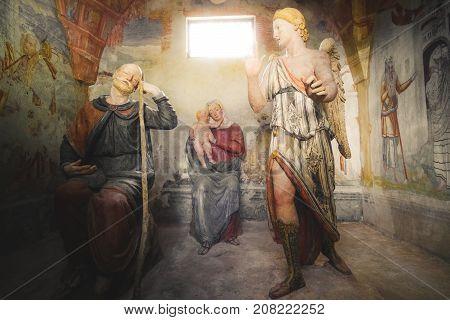 biblical scene representation (presepe) the second dream of Saint Joseph (Sacro Monte di Varallo Piedmont Italy May 24 2017)