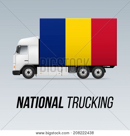 Symbol of National Delivery Truck with Flag of Romania. National Trucking Icon and Romanian flag