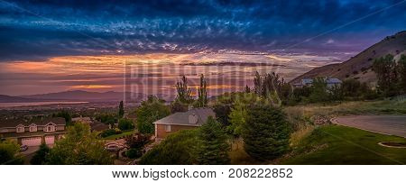 Sunset panorama in Utah Valley Utah USA with views of Orem and Lindon cities.