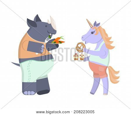 Funny animal character on a diet. Unicorn eats buns and sweets. Rhino with broccoli and carrots. Vector illustration eps 10