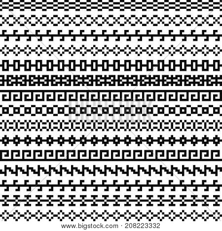 Old greek border, Tribal art vintage ethnic seamless pattern, asian lattice ornaments, chinese, japanese, korean vector set, Seamless pixel black and white patterns